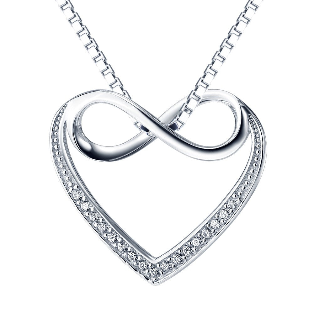 925 Sterling Silver Infinity Heart Necklace Cubic Zirconia