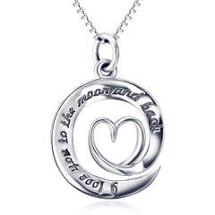 925 Sterling Silver Circle Moon and Back Necklace
