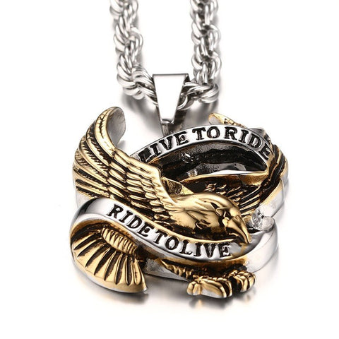 1.  Live to Ride - Ride to Live - Necklace - Vintage Gold Eagle Biker