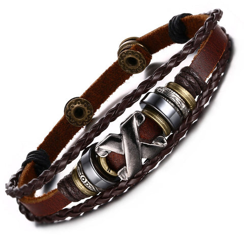 Genuine Leather Bangle Stainless Steel Bracelet - 82
