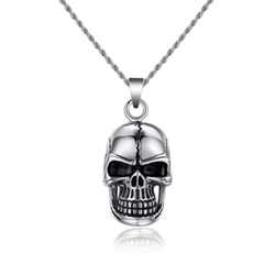 High Quality punk rock biker skull stone necklace