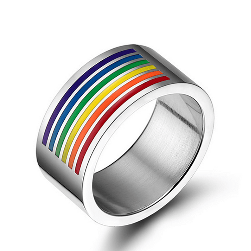 316L Stainless steel trendy gay pride big rings - PROMO