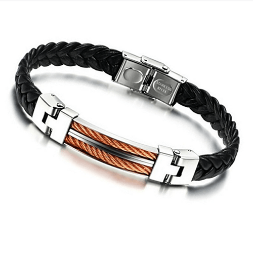 High Quality Stainless Steel Button, Leather Bracelet Bangle - 37