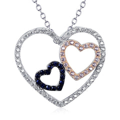 Double Hearts - 925 Sterling Silver Necklace