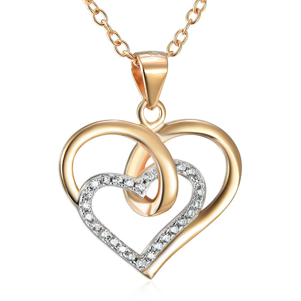 4 - Pink Love Heart - 925 Sterling Silver Necklace