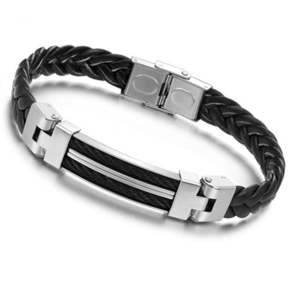 Stainless Steel Leather Bracelet Bangle for Men - 35
