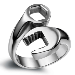 Biker Mechanic Wrench Stainless Steel Mens Ring