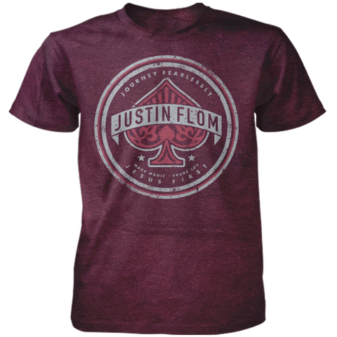Journey Fearlessly Acid Wash Burgundy Tee
