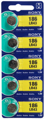 Sony LR43 Alkaline Battery 1.5V TearStrip = 186 / AG12