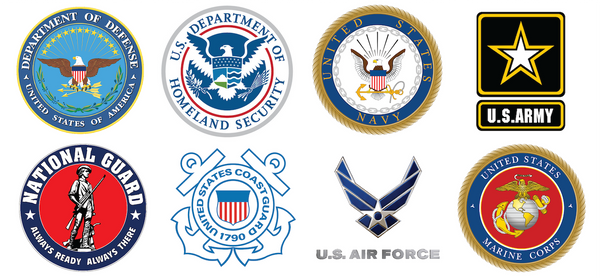 A Collection of Military Logos for Army, Navy, Air Force, Marines, Coast Guard, National Guard, DoD, and DHS for SAM certified battery vendor
