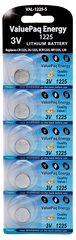 ValuePaq energy cr1225 1225 lithium coin cell 5 pack energizer 1225 ecr1225 duracell dl1225 rayovac varta panasonic cr1225 seiko
