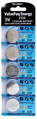 ValuePaq energy cr2330 2330 lithium coin cell 5 pack energizer 2330 ecr2330 duracell dl2330 rayovac varta panasonic cr2330 seiko