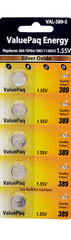 ValuePaq Energy Duracell - D389, Eveready - 389, IEC - SR54, Maxell - SR1130W, NEDA Number - 1138SO, RW49, S1131, Panasonic - SP389, Rayovac - 389-1, Varta - V389