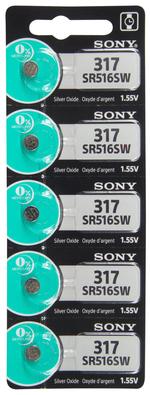 Image of front of Sony 317 SR516SW 1.55V Silver Oxide Battery TearStrip