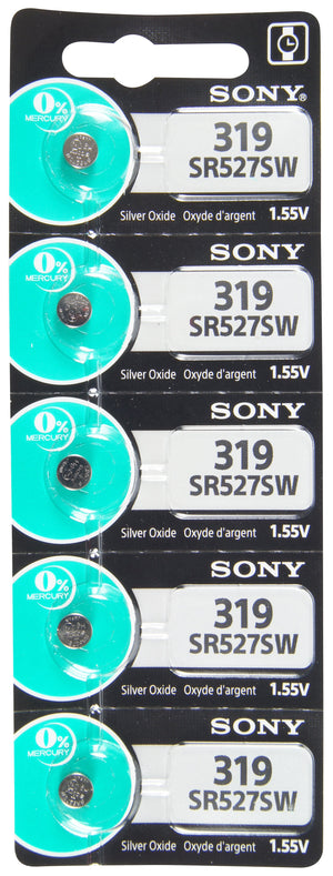 Image of front of Sony 319 SR527SW 1.55V Silver Oxide Battery TearStrip
