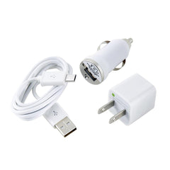 Micro USB Samsung, Android, LG, Windows Car Charger, Wall Charger, Sync Cable White