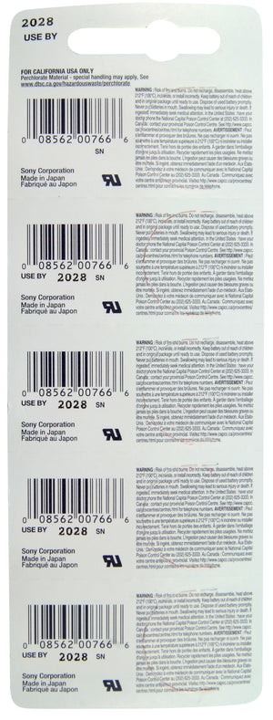 Image of back of Sony CR1216 Lithium Battery 3V, 30 mAh TearStrip