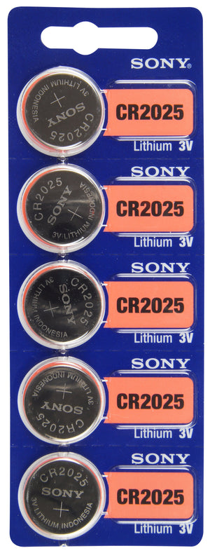 Image of front of Sony CR2025 Lithium Battery 3V, 160 mAh TearStrip