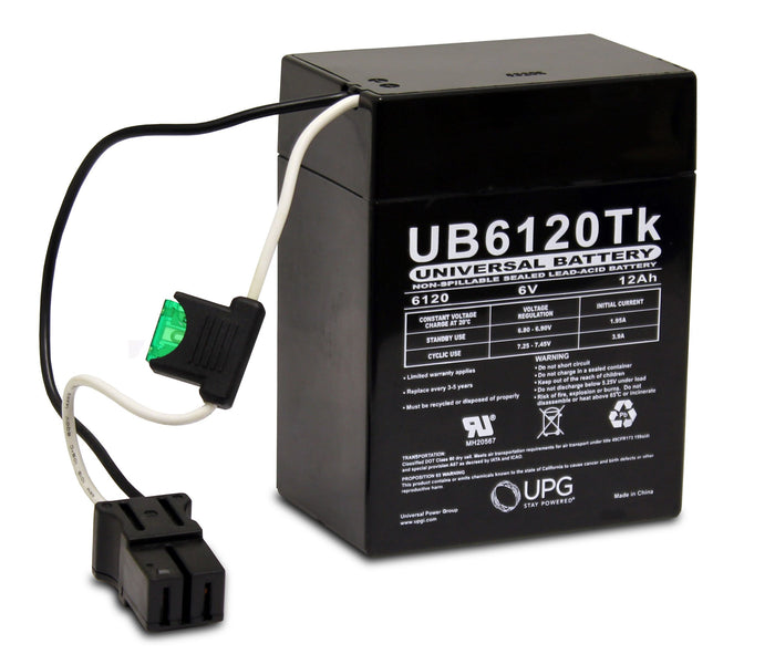 Sealed Lead Acid Batteries/AMG UB6120 TOY SLA Battery 6V 12Ah / Terminal Wire Lead w/ P2 - D5737
