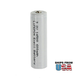 LiFePO4 Lithium Phosphate 3.2V 600mAh 14500 AA Rechargeable Battery