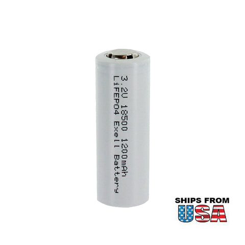 LiFePO4 Lithium Iron Phosphate 3.2V 1200mAh 18500 Rechargeable Battery