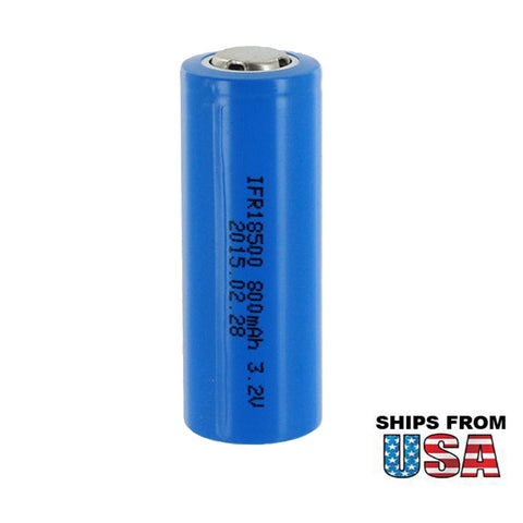 LiFePO4 Lithium Phosphate 3.2V 800mAh 18500 Rechargeable Solar Battery