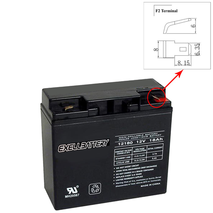 Exell 12V 18Ah SLA Battery Rechargeable AGM replaces UB12180, 40648