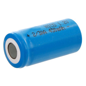 Image of Exell 2/3AA 1.2V 450mAh NiCD Flat Top Rechargeable Assembly Cell Battery