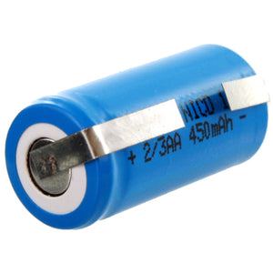 Image of Exell 2/3AA 1.2V 450mAh NiCD Rechargeable Assembly Cell Battery with Tabs