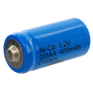 Image of Exell 2/3AA 1.2V 450mAh NiCD Button Top Rechargeable Assembly Cell Battery