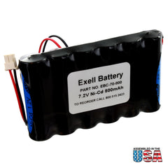 Exell NiCD 7.2V 800mAh Back-Up Battery for Security Alarm Systems