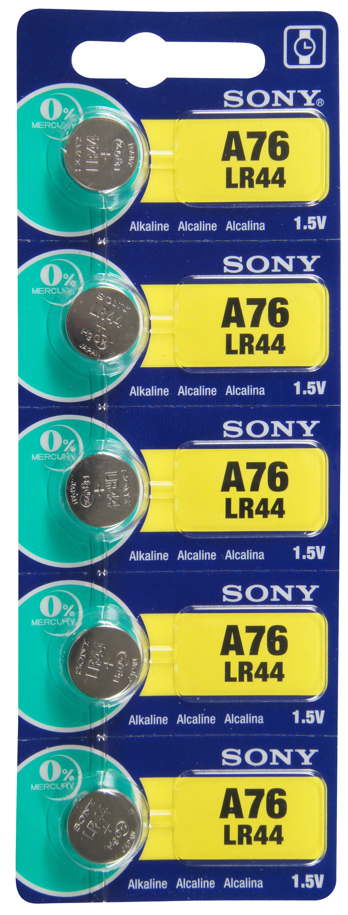 Sony LR44 Alkaline Battery 1.5V TearStrip = A76 / AG13