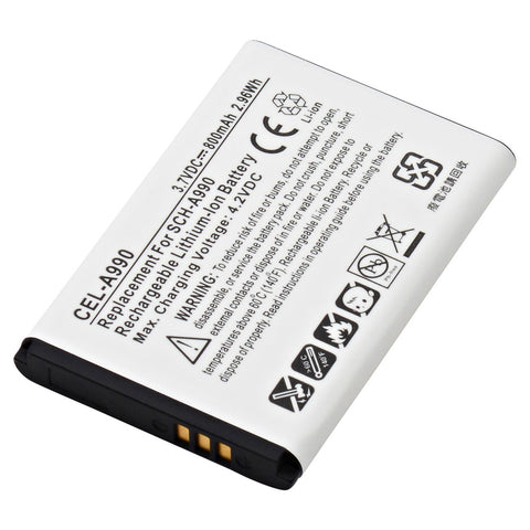 Cell Phone Battery CEL-A990 Replaces Empire - BLI-984-.7, Lenmar - CLZ558SG, Samsung - AB553446GA