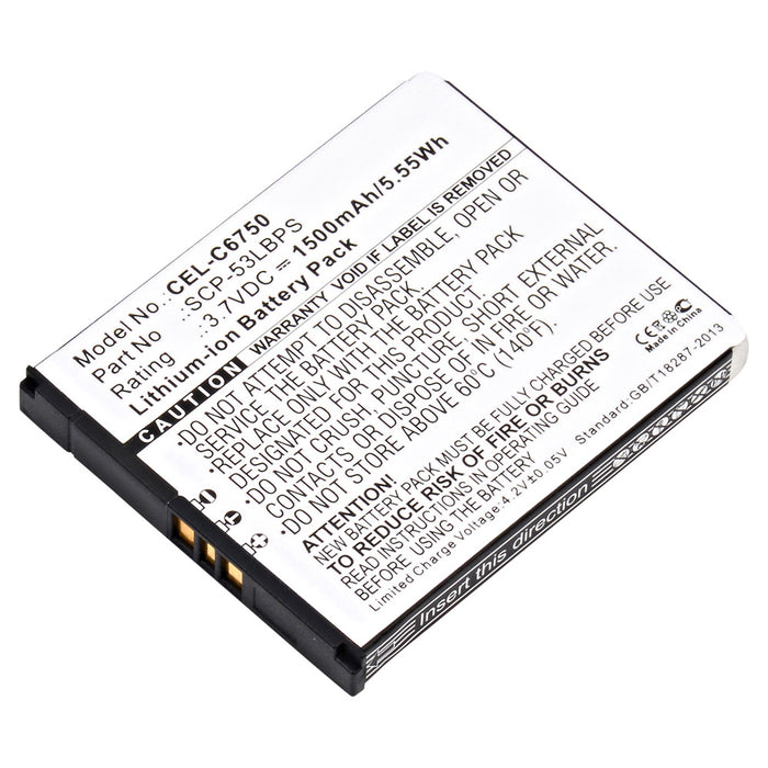 Cell Phone Battery CEL-C6750 Replaces Kyocera - SCP-53LBPS