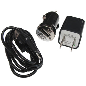 Image of Micro USB Samsung, Android, LG, Windows Car Charger, Wall Charger, Sync Cable Black
