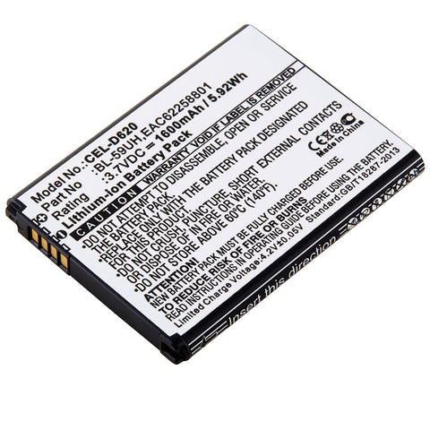 Cell Phone Battery CEL-D620 Replaces LG - BL-59UH