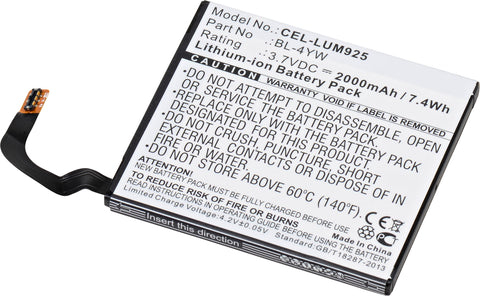 Cell Phone Battery CEL-LUM925 Replaces Nokia - BL-4YW