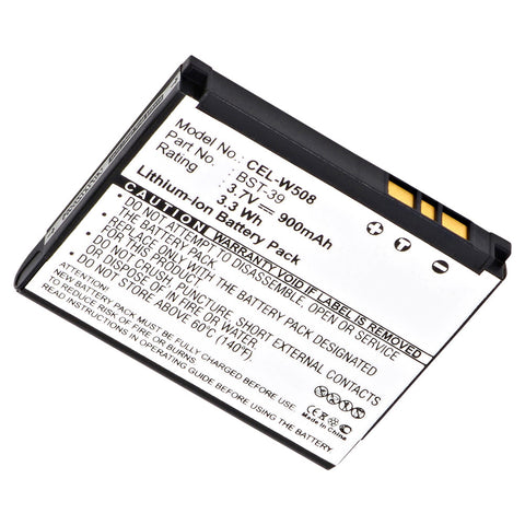 Cell Phone Battery CEL-W508 Replaces Sony Ericsson - BST-39