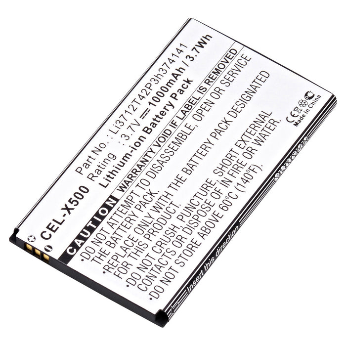 Cell Phone Battery CEL-X500 Replaces Cricket - LI3712T42P3H374141