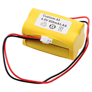 Image of Emergency Lighting Battery CUSTOM-43 Replaces Interstate - NIC0186, At-Lite - BL93NC484