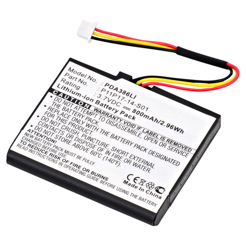 GPS Battery PDA-386LI Replaces TomTom - P11P17-14-S01