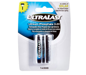 Image of Ultralast Solar Lighting Size 14500 Li-FePO Batteries 2 Pack - DAUL14500SL2P