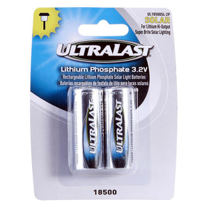 Image of Ultralast Solar Lighting Size 18500 Li-FePO Batteries 2 Pack - DAUL18500SL2P