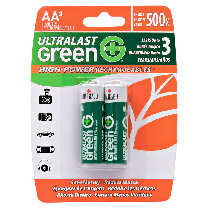 Ultralast Green 2 pack AA NiMH High-Power Carded