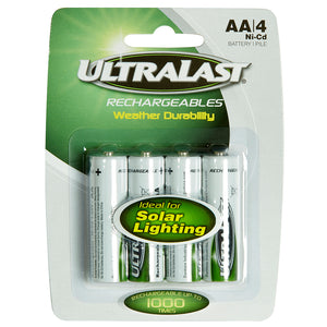 Image of Solar Lighting AA NiCd Batteries 4 Pack | Ultralast ULN4AASL