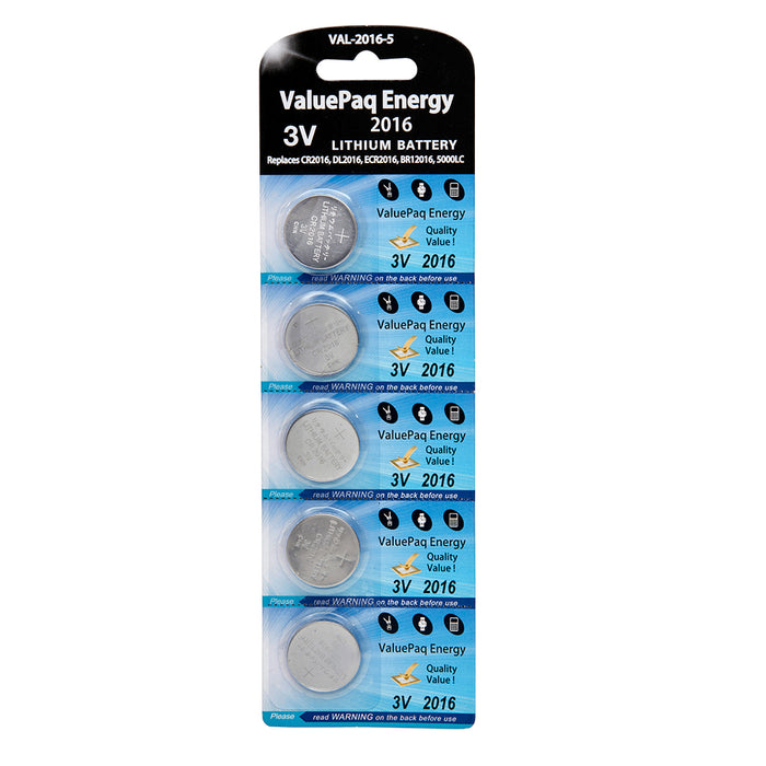 ValuePaq Energy 2016 3 Volt Lithium Coin Cell 5 pack - CR2016