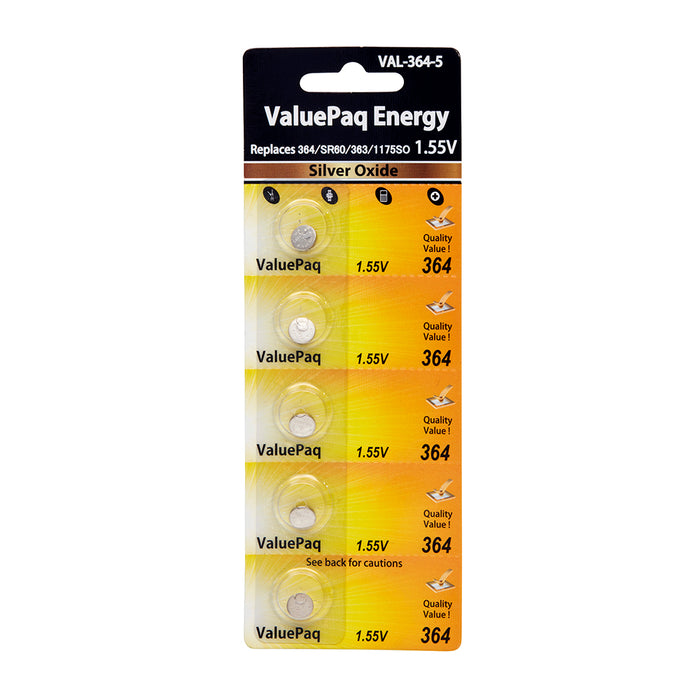 Watch Battery VAL-364-5 363 1175SO Replaces Eveready 364, IEC - SR60 5 pack