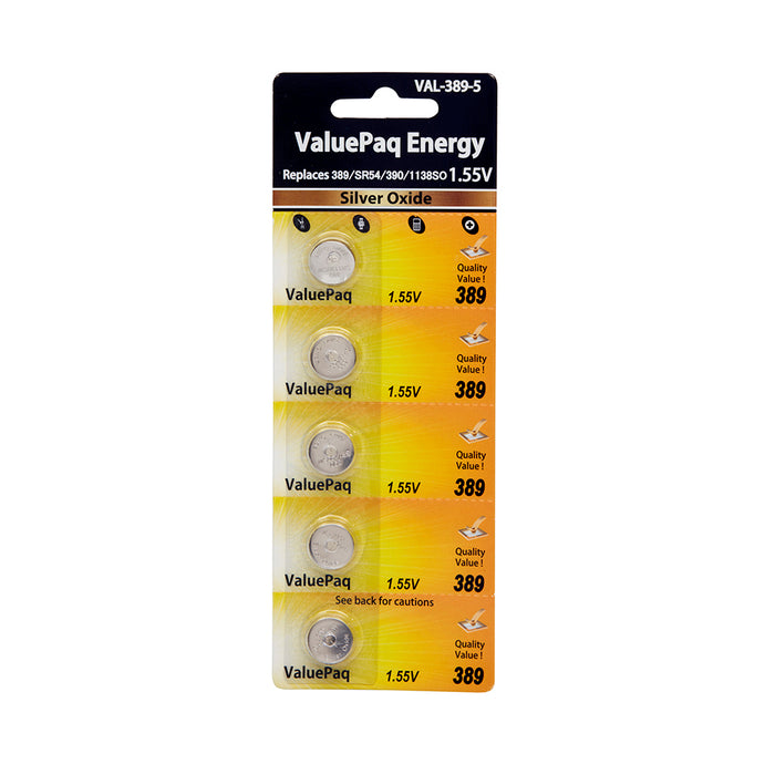 Watch Battery VAL389 Replaces Eveready - 389 5 pack