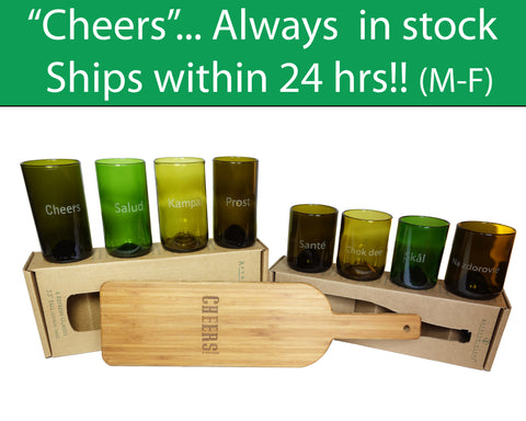 "Cheers in 8 languages engraved on the 12oz & 16oz 4 packs of Refresh Glasses, and a ""cheers"" engraved bamboo board"