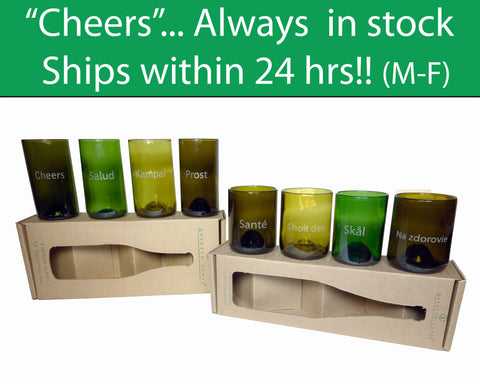 Cheers in 8 languages engraved on 12oz and 16oz 4 packs of glasses